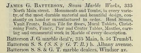 An ad for James G. Batterson's Steam Marble Works from Geer's Hartford City Directory for 1855-56...