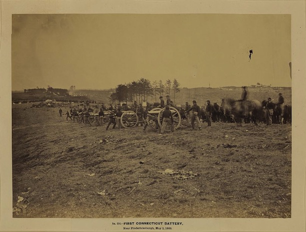 Andrew J. Russell, First Connecticut Battery near Fredericksburg, Virginia, May 2, 1863. Though this photo was originally labeled as the Connecticut First Light Battery, there may be some inconsistencies that challenge this identification - Library of Congress, Prints and Photographs Division