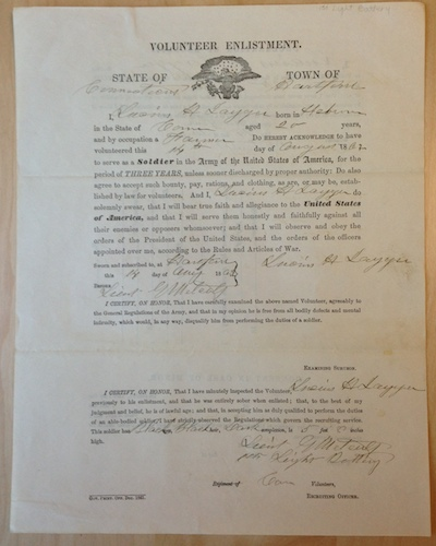 Volunteer Enlistment form to the First Light Battery of Lucius H. Jagger of Hebron. Jagger died at Deep Bottom, Virginia, on July 16, 1864, from disease during active service. Note the witness signature of Lieutenant George Metcalf, who also died, at the Battle of Proctor's Creek - Connecticut Historical Society