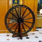 The gun wheel of the First Light Battery in the Connecticut State Capitol.