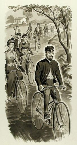 """Curtis Veeder, Inventor of the Cyclometer, Riding a Bicycle,"" drawn by HH Art Studios Inc. for G. Fox & Co. 100th Anniversary, 1947 - Connecticut Historical Society"
