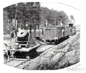 """Dictator"" - The Traveling Mortar in Front of Petersburg, 1864. The mortar was unique in that it was mounted on a rail car. Photograph from Francis Trevelyan Miller's The Photographic History of the Civil War, Vol. V, 1911."