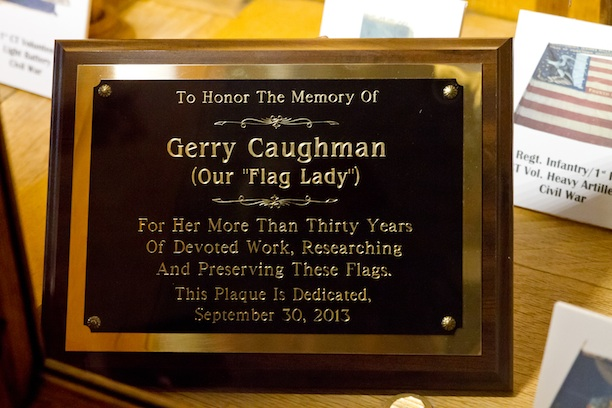 "A plaque was dedicated to the ""Flag Lady"" Gerry Caughman and placed in the Hall of Flags on September 20, 2013, for all her hard work preserving the flags - Courtesy of Stacey Renee"