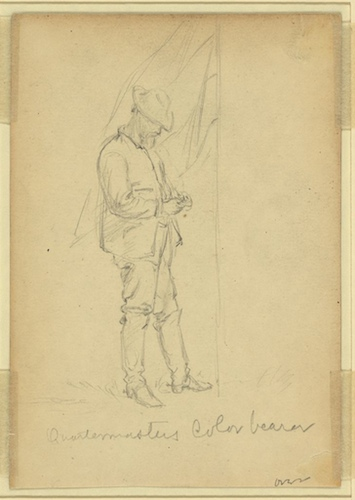 Pictured is a sketch of a color-bearer from the Civil War era. It was considered an honor and privilege to carry the colors into battle by Alfred Waud, ca. 1860-65 - Library of Congress, Prints and Photographs Division