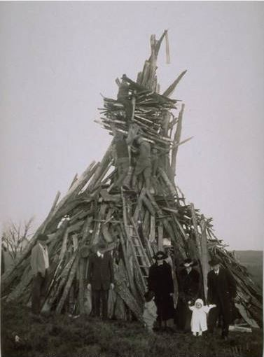 Building the Bonfire, Armistice, World War I, Storrs, 1919 - Archives & Special Collections of the University of Connecticut Libraries, and Connecticut History Online