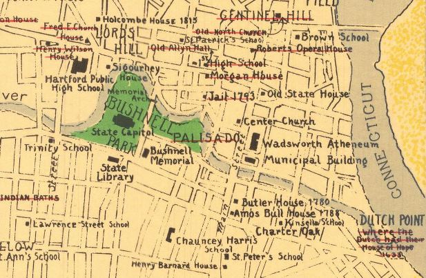 Detail of Downtown Hartford fromA Cultural and Historical Map of Hartford. Drawn by Katherine G. Bartholomew and Dorothy G. Spalding. Printed by The Kellogg & Bulkeley Co., 1933 - Connecticut Historical Society