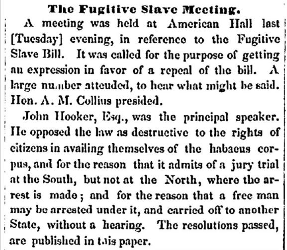 "Detail from a news article in the Times ""The Fugitive Slave Meeting"", October 12, 1850, Hartford, Connecticut"
