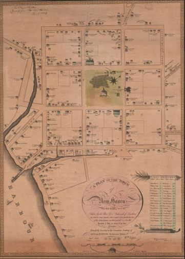 Plan of the Town of New Haven With all the Buildings in 1748. Drawn by James Wadsworth. Engraved by Thomas Kensett, 1806 - Connecticut Historical Society