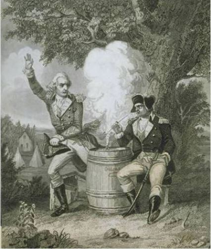 One of many legends surrounding Israel Putnam of Pomfret relates how, during the French and Indian War, an arrogant British officer challenged him to a duel. Print ca. 1850-1869 - Connecticut Historical Society and Connecticut History Online