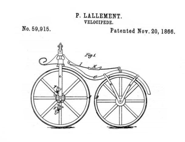 Pierre Lallement's patent illustration - improvement in velocipedes.