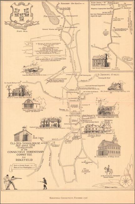 Ridgefield, Connecticut, Founded 1708. Drawn by Robert Cooper Barr, 1935 - Connecticut Historical Society