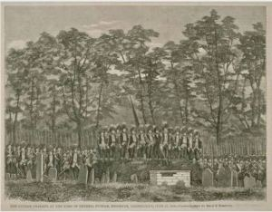 Putnam Phalanx at the tomb of General Putnam, Brooklyn, June 19, 1860, wood engraving - Connecticut Historical Society and Connecticut History Online