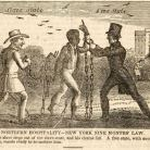"""The slave steps out of the slave-state, and his chains fall. A free state, with another chain, stands ready to en-slave him,"" from The American Anti-Slavery Almanac for 1840, Vol. I No. 5."