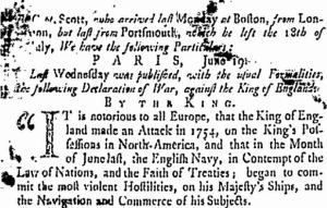 "Detail of the news from ""Paris, June 19"", The Connecticut Gazette, September 18, 1756, New Haven, Connecticut"