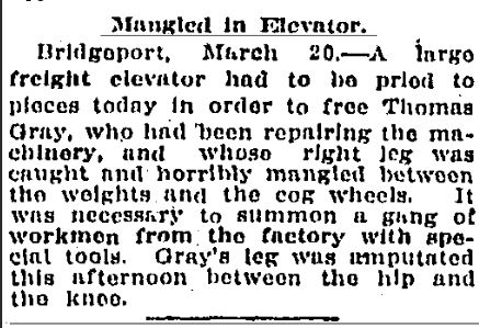 News article from the Hartford Courant referencing Thomas Gray's accident, March 21, 1911.