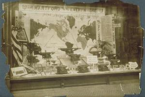 Window display, Underwood Typewriter Company, Hartford, ca. 1910 - Connecticut Historical Society