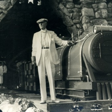 Gillette with his short-line, narrow-gauge train on the grounds of his 184-acre estate, the Seventh Sister - Harriet Beecher Stowe Center and Connecticut State Library