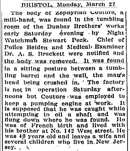 News article from the Hartford Courant referencing Zephyriah Couture's Death, March 27, 1911.