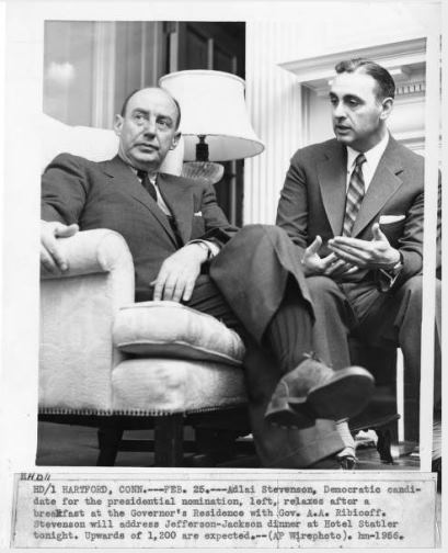 Adlai Stevenson and Abraham Ribicoff, Hartford, February 25, 1956 - Hartford History Center, Hartford Public Library and Connecticut History Online