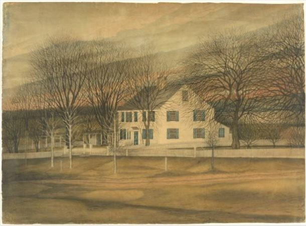 Laurilla Smith, The Smith Sisters' Homestead, prior to 1867, watercolor - Connecticut Historical Society