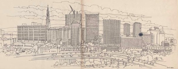 Hartford from East Hartford. Drawing by Richard Welling, 1973. I-91 redefined Hartford's east side, effectively cutting it off from the Connecticut River - Connecticut Historical Society, gift of the Richard Welling family