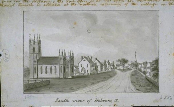 John Warner Barber, South view of Hebron, CT., ca. 1836. The house beside the church is identified as the residence of John S. Peters (nephew of Rev. Samuel Peters)  - Connecticut Historical Society and Connecticut History Online