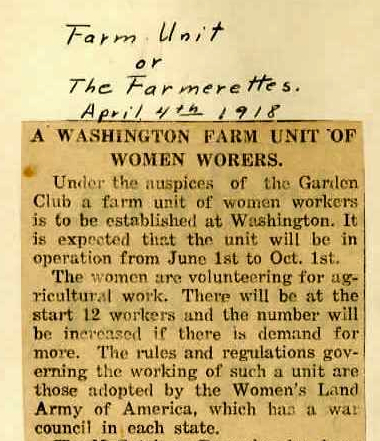 Detail of an article from the Washington, Connecticut, WWI Scrapbook collection, compiled by Amy C. Kenyon, describing the formation of the Farmerettes - Gunn Memorial Museum