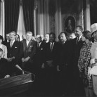 Photograph of President Lyndon Johnson Signing the Voting Rights Act with Martin Luther King, Jr. and Other Civil Rights Leaders in the Capitol Rotunda, August 6, 1965 - National Archives