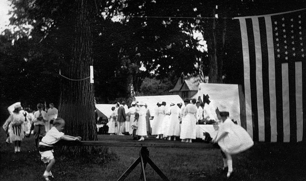 """The Encampment"" on the Washington town green, August 16, 1917 - Gunn Memorial Library and Museum"