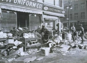 Cleanup on Front Street, Hartford, during the Flood of 1936