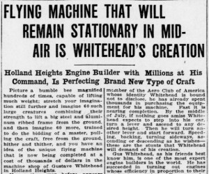 An article detailing Whitehead's further experimentation from the Bridgeport Evening Farmer, June 20, 1910 - Chronicling America: Historic American Newspapers, Library of Congress