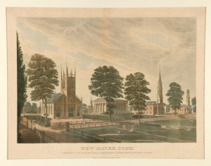 New Haven, Conn. Comprising a View of the Episcopal and Presbyterian Churches, Statehouse and Yale College, hand-colored engraving by Illman and Pilbrow, New York, 1831 - Yale University Art Gallery