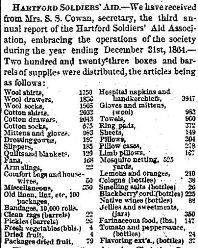 Detail from the third annual report of the Hartford Soldiers' Aid Society from the Hartford Daily Courant, February 11, 1865.