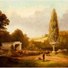 George Henry Durrie, Ithiel Town Truss Bridge, oil painting, 1853 - Mattatuck Museum