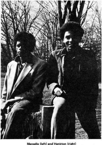 "Marcus Manselle (left) and Hankton (right) from the article ""Weaver Students Suspended: America is Wonderful"" in the April 9, 1969, issue of the UH News: Liberated Press"