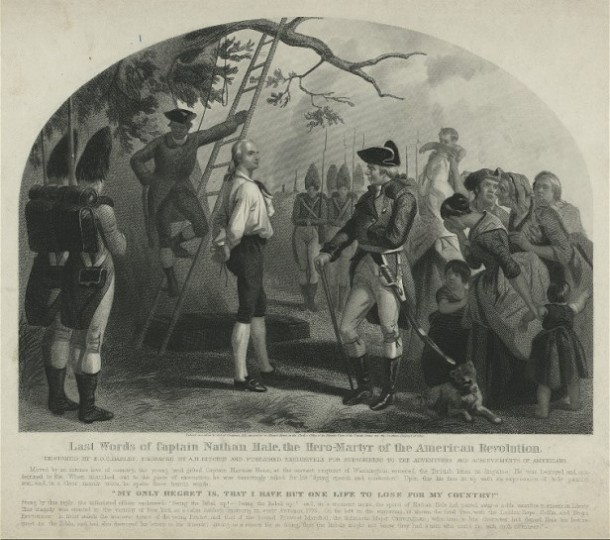Last words of captain nathan hale the hero martyr of the american