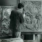 Elbert Weinberg at work on The Tinder Box, 1950 -  Hartford History Center, Hartford Public Library