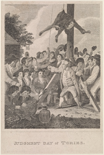 Elkanah Tisdale, Judgment Day of Tories, engraving, ca. 1790s - New York Public Library Digital Collection
