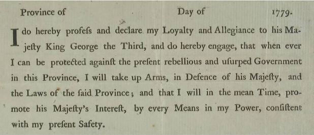 Form, to be completed, for British loyalty oath, administered during the American Revolution, 1779 - Connecticut Historical Society and Connecticut History Online