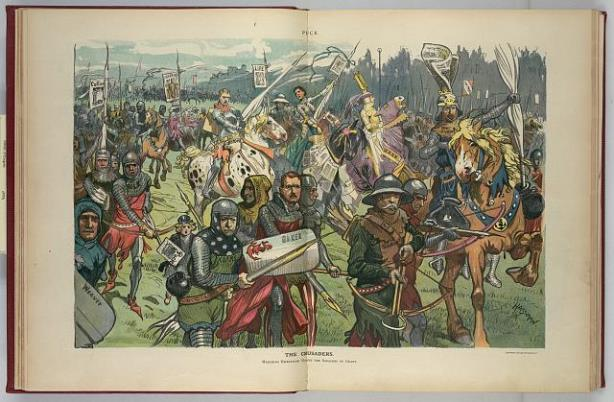 "The centerfold of Puck magazine, February 21, 1906, ""The Crusaders"" by C. Hassman. Comic illustration shows a large group of politicians and journalists as knights on a crusade against graft and corruption, including Ida Tarbell - Library of Congress, Prints and Photographs Division"