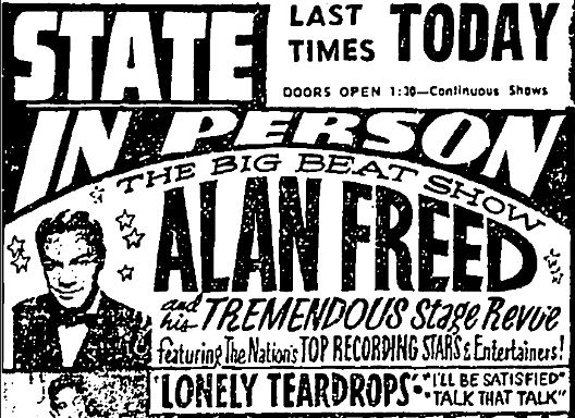 """Detail of an advertisement from the Hartford Courant featuring """"The Big Beat Show"""" of Alan Freed, March 6, 1960."""