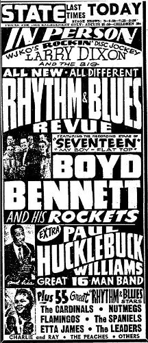 "Hartford Courant advertisement for the ""Rhythm & Blues Revue"", November 20, 1955."