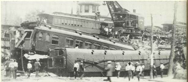 Illustration of the Federal Express Train Wreck, July 11, 1911 from the book History of Black Rock, 1955