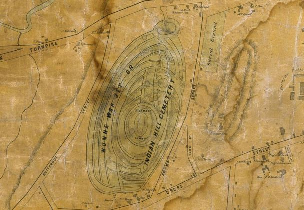 Detail from a Map of the City of Middletown, Connecticut, Surveyed by R. Whiteford: Published by Richard Clark, 1851 - Connecticut Historical Society