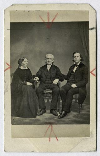 Harriet Beecher Stowe, Lyman Beecher, and Henry Ward Beecher from a carte de visite by Mathew Brady - New York Public Library Digital Collections