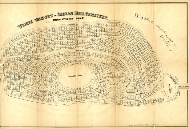 Map of Indian Hill Cemetery, 1850, Special Collections and Archives, Olin Library, Wesleyan University