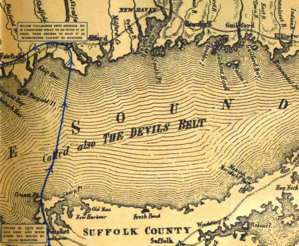"""Culper gets message here and sends across the sound by Caleb Brewster."" Detail of map from General Washington's spies on Long Island and in New York by Morton Pennypacker, 1939."