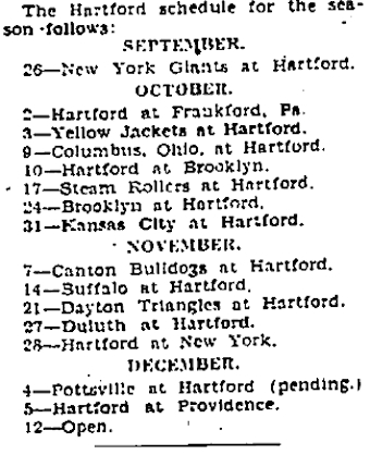 Hartford Blues fall schedule, 1926. Published in the Hartford Courant, July 13, 1926
