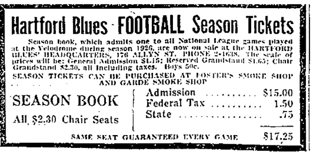 Display advertisement for the Hartford Blues Football Season Tickets, Hartford Courant, September 25, 1926
