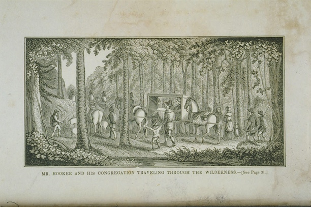 Samuel E. Brown, Mr. Hooker and his Congregation travelling through the Wilderness - Connecticut Historical Society and Connecticut History Illustrated